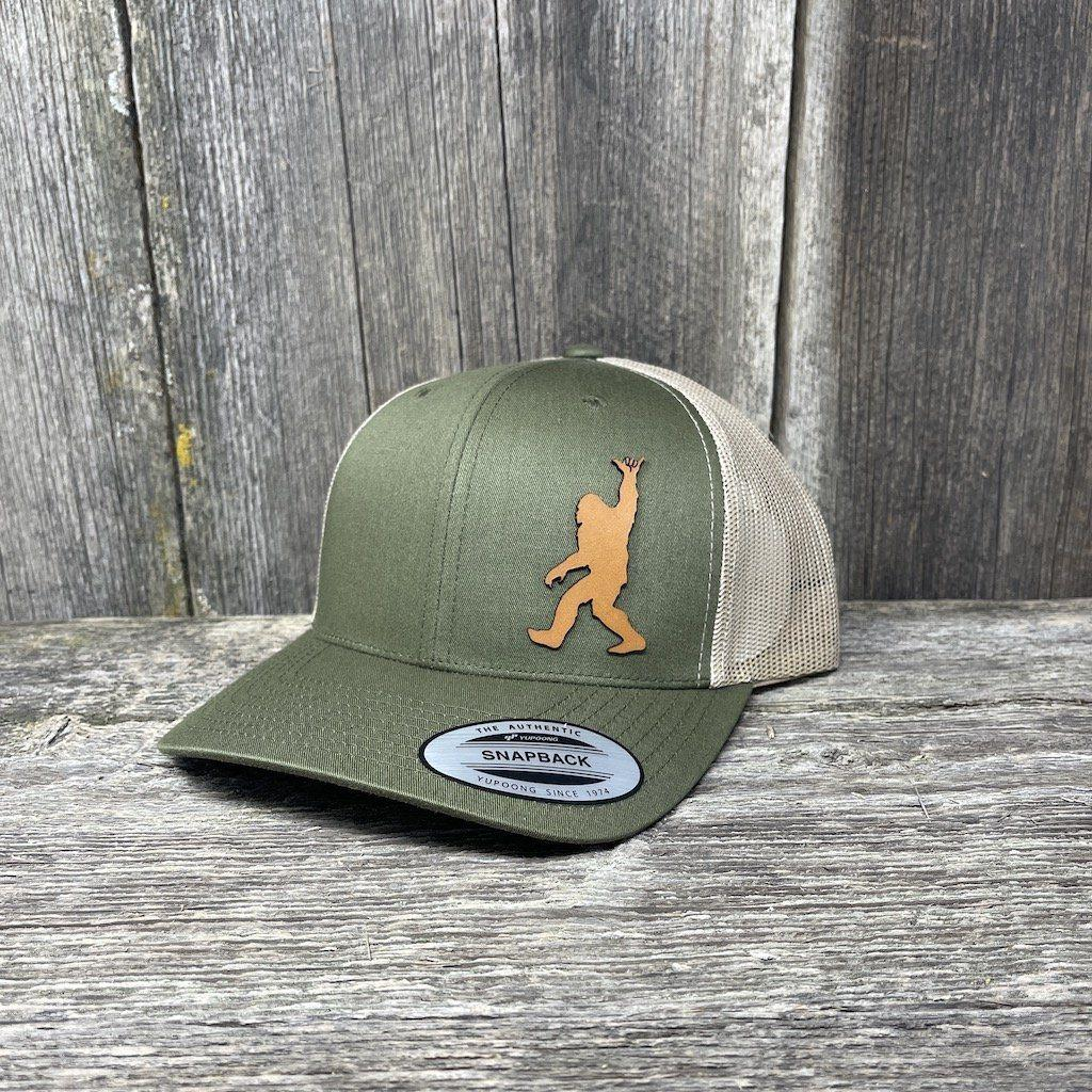 SASQUATCH CHESTNUT LEATHER SHAKA PATCH - FLEXFIT-SNAPBACK Leather Patch Hats Hells Canyon Designs Loden/Tan