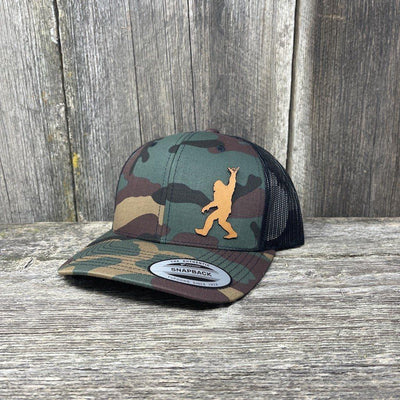 SASQUATCH CHESTNUT LEATHER SHAKA PATCH - FLEXFIT-SNAPBACK Leather Patch Hats Hells Canyon Designs Tropical Multicam