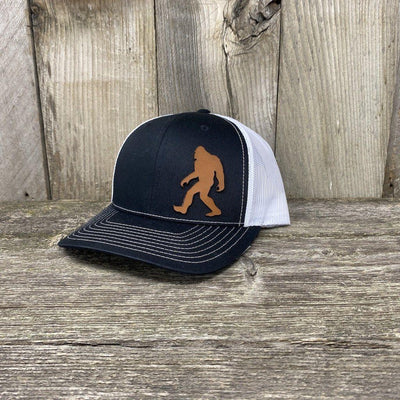 SASQUATCH LEATHER PATCH HAT - RICHARDSON 112 Leather Patch Hats Hells Canyon Designs Black/White