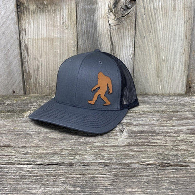 SASQUATCH LEATHER PATCH HAT - RICHARDSON 112 Leather Patch Hats Hells Canyon Designs Grey/Black