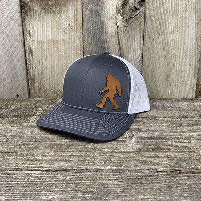 SASQUATCH LEATHER PATCH HAT - RICHARDSON 112 Leather Patch Hats Hells Canyon Designs Grey/White