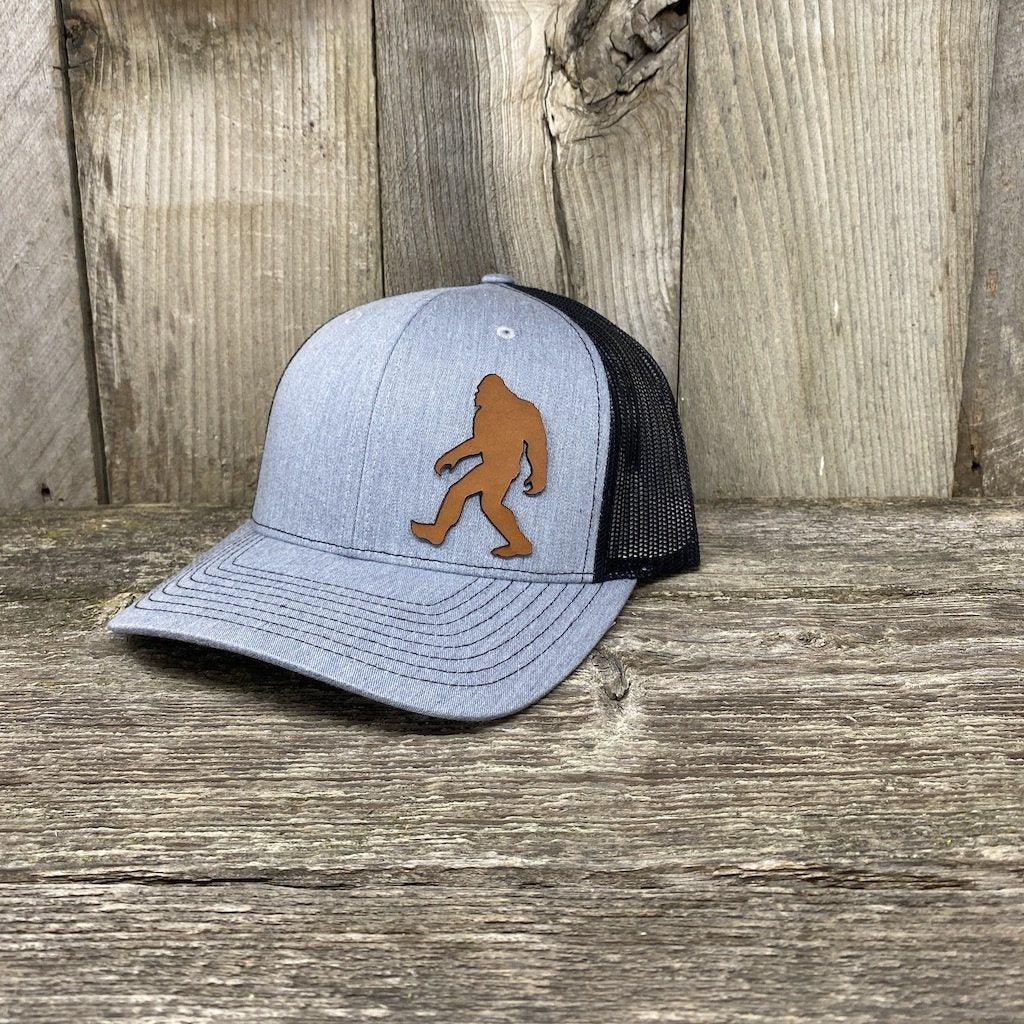 SASQUATCH LEATHER PATCH HAT - RICHARDSON 112 Leather Patch Hats Hells Canyon Designs Heather/Black