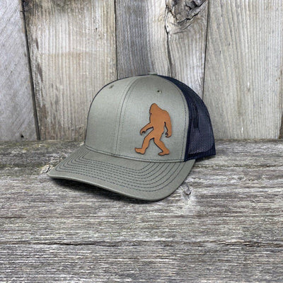 SASQUATCH LEATHER PATCH HAT - RICHARDSON 112 Leather Patch Hats Hells Canyon Designs Loden/Black