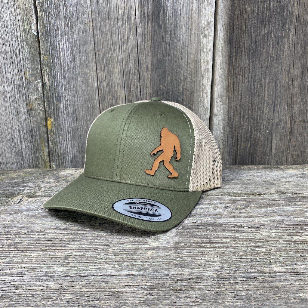 SASQUATCH LEATHER PATCH HAT - SNAPBACK Leather Patch Hats Hells Canyon Designs Loden/Tan