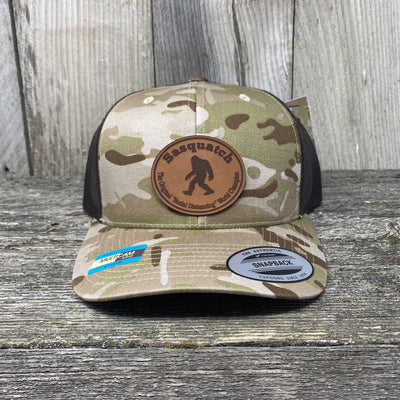 Sasquatch Oval Patch Hat Flex-Fit Leather Patch Hats Hells Canyon Art Glass and Laser
