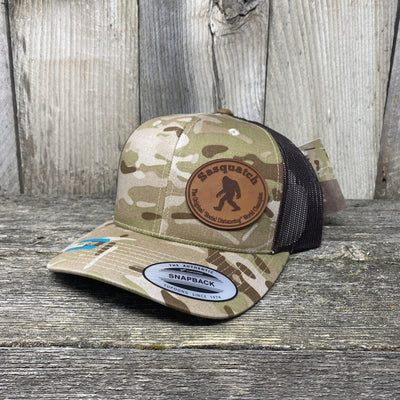 Sasquatch Oval Patch Hat Flex-Fit Leather Patch Hats Hells Canyon Art Glass and Laser Arid/Brown Multicam