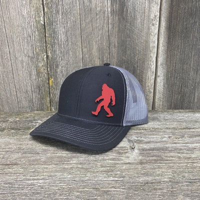 SASQUATCH RED LEATHER PATCH HAT RICHARDSON 112 Leather Patch Hats Hells Canyon Designs