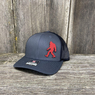 SASQUATCH RED LEATHER PATCH HAT RICHARDSON 112 Leather Patch Hats Hells Canyon Designs Charcoal/Black