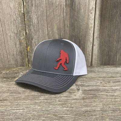 SASQUATCH RED LEATHER PATCH HAT RICHARDSON 112 Leather Patch Hats Hells Canyon Designs Grey/White