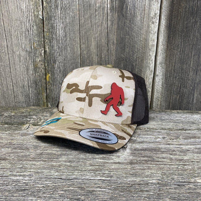 SASQUATCH RED LEATHER PATCH HAT - SNAPBACK Leather Patch Hats Hells Canyon Designs Arid/Brown Multicam