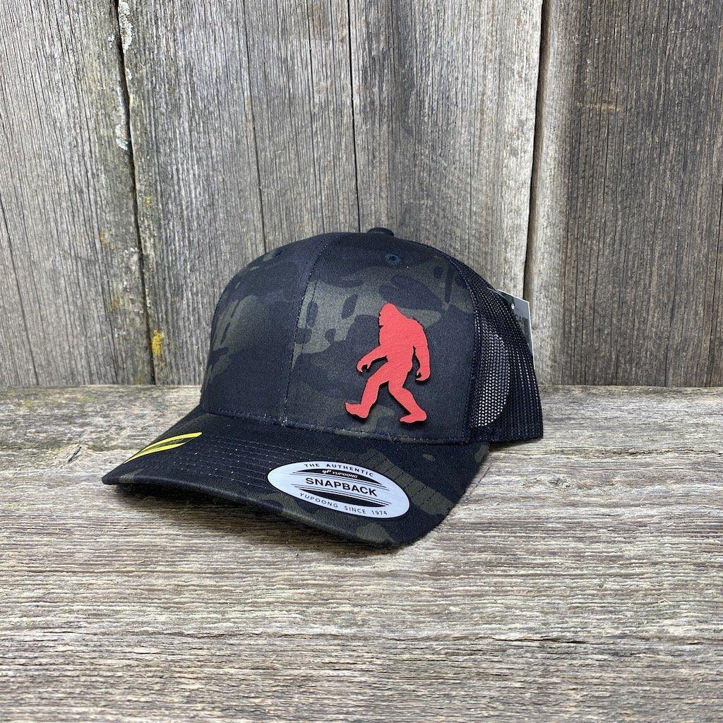SASQUATCH RED LEATHER PATCH HAT - SNAPBACK Leather Patch Hats Hells Canyon Designs Black Multicam