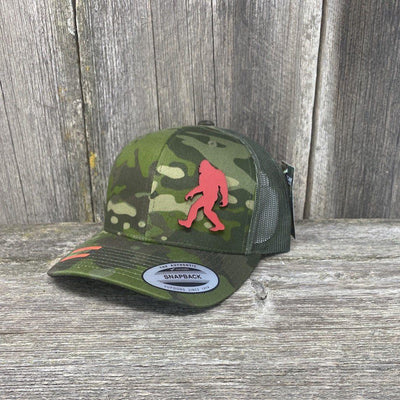 SASQUATCH RED LEATHER PATCH HAT - SNAPBACK Leather Patch Hats Hells Canyon Designs Green Jungle Multicam