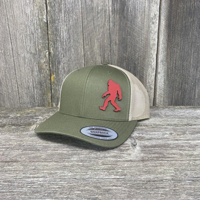 SASQUATCH RED LEATHER PATCH HAT - SNAPBACK Leather Patch Hats Hells Canyon Designs Loden/Tan