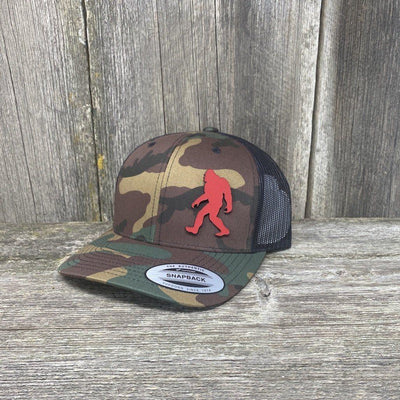 SASQUATCH RED LEATHER PATCH HAT - SNAPBACK Leather Patch Hats Hells Canyon Designs Tropical Multicam