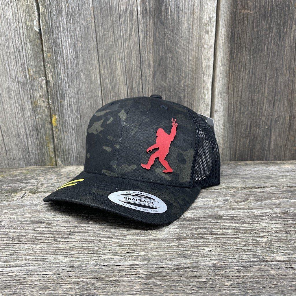 SASQUATCH RED LEATHER PEACE PATCH - FLEXFIT-SNAPBACK Leather Patch Hats Hells Canyon Designs Black Multicam