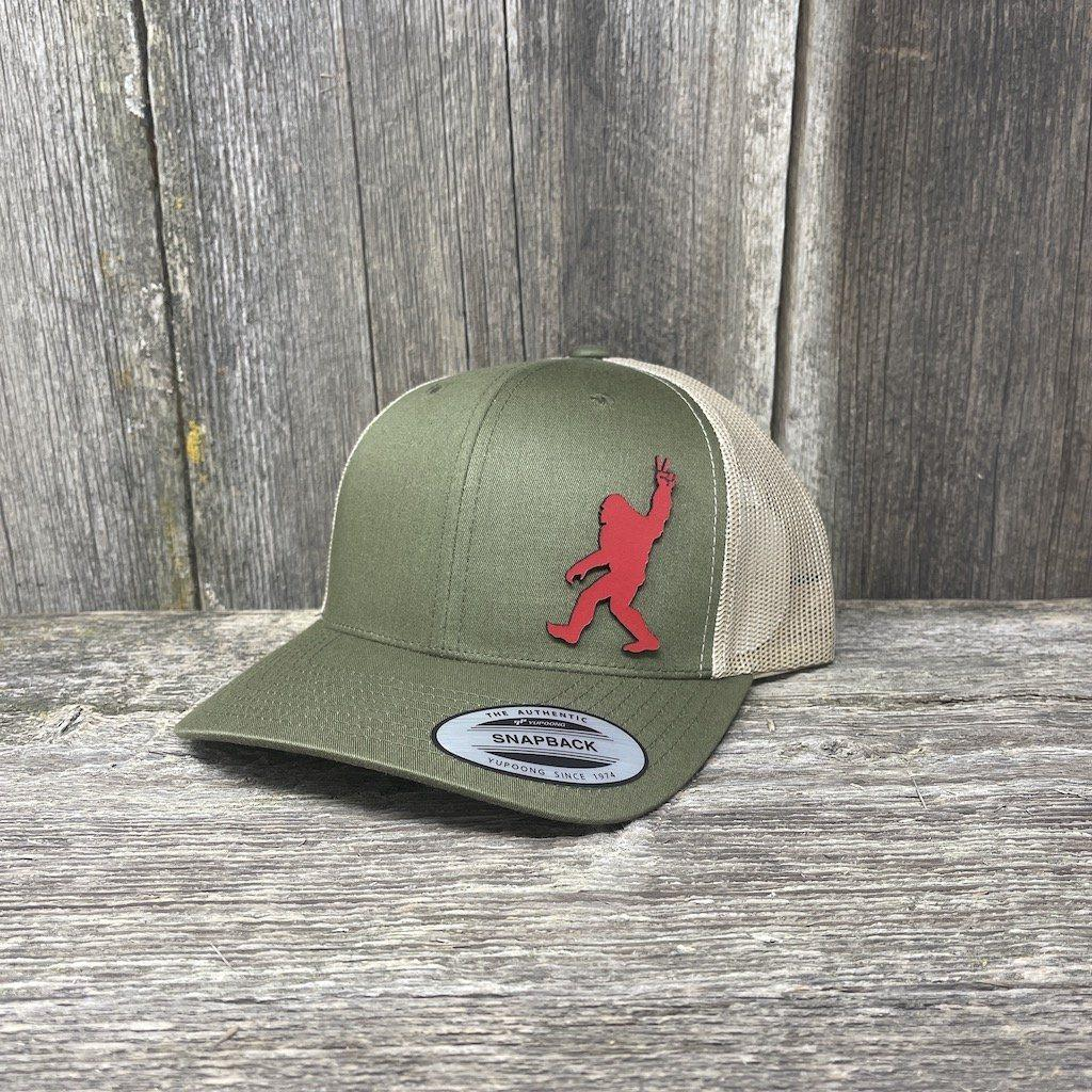 SASQUATCH RED LEATHER PEACE PATCH - FLEXFIT-SNAPBACK Leather Patch Hats Hells Canyon Designs Loden/Tan