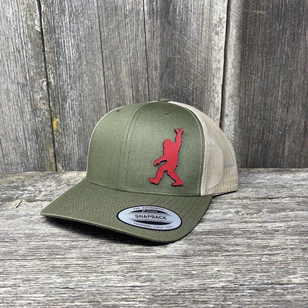 SASQUATCH RED LEATHER SHAKA PATCH - FLEXFIT-SNAPBACK Leather Patch Hats Hells Canyon Designs Loden/Tan