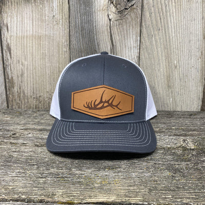 The Big Elk Rack Hat Leather Patch Hats Hells Canyon Designs Charcoal/White