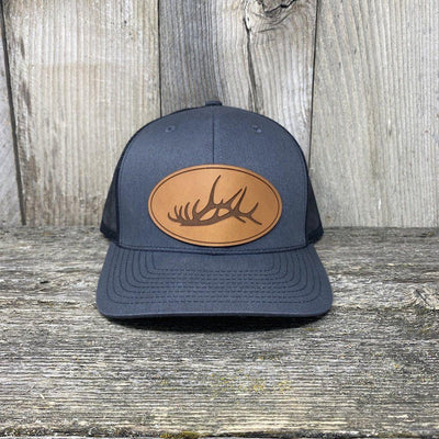 The Big Oval Elk Rack Hat Leather Patch Hats Hells Canyon Designs Charcoal/Black
