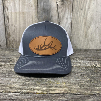The Big Oval Elk Rack Hat Leather Patch Hats Hells Canyon Designs Charcoal/White