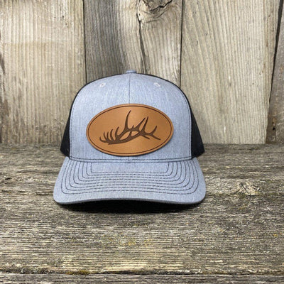 The Big Oval Elk Rack Hat Leather Patch Hats Hells Canyon Designs Heather/Black