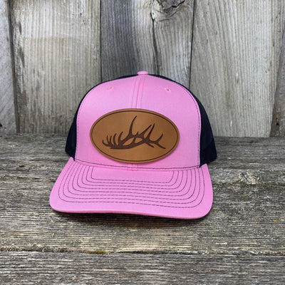 The Big Oval Elk Rack Hat Leather Patch Hats Hells Canyon Designs Pink/Black