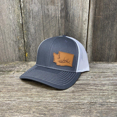 Washington Elk Patch Hat Richardson 112 Leather Patch Hats Hells Canyon Designs Charcoal/White