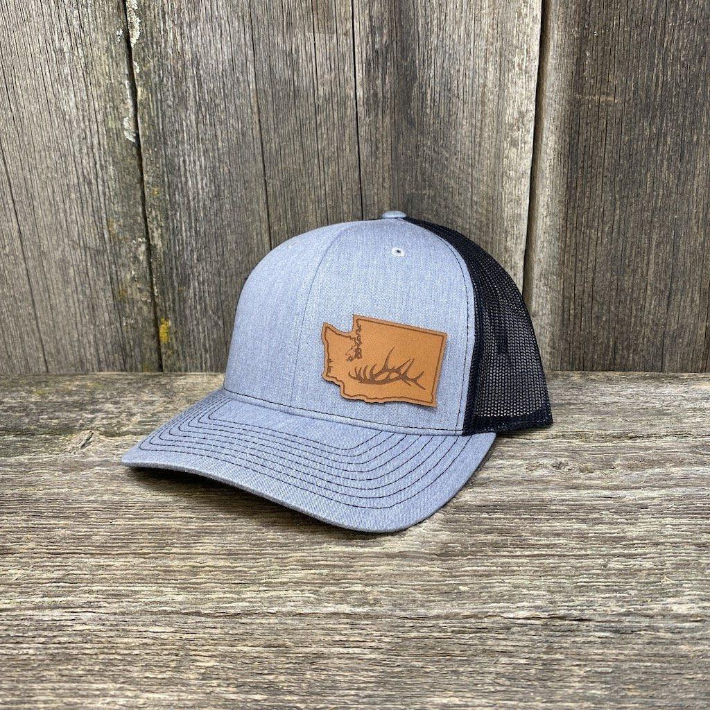 Washington Elk Patch Hat Richardson 112 Leather Patch Hats Hells Canyon Designs Heather/Black