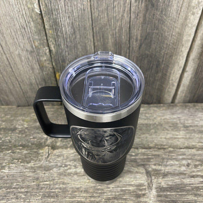WHITETAIL DEER BLACK 20oz COFFEE MUG Tumbler Hells Canyon Designs