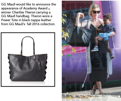 Charlize Theron Sports a GG Maull Power Tote