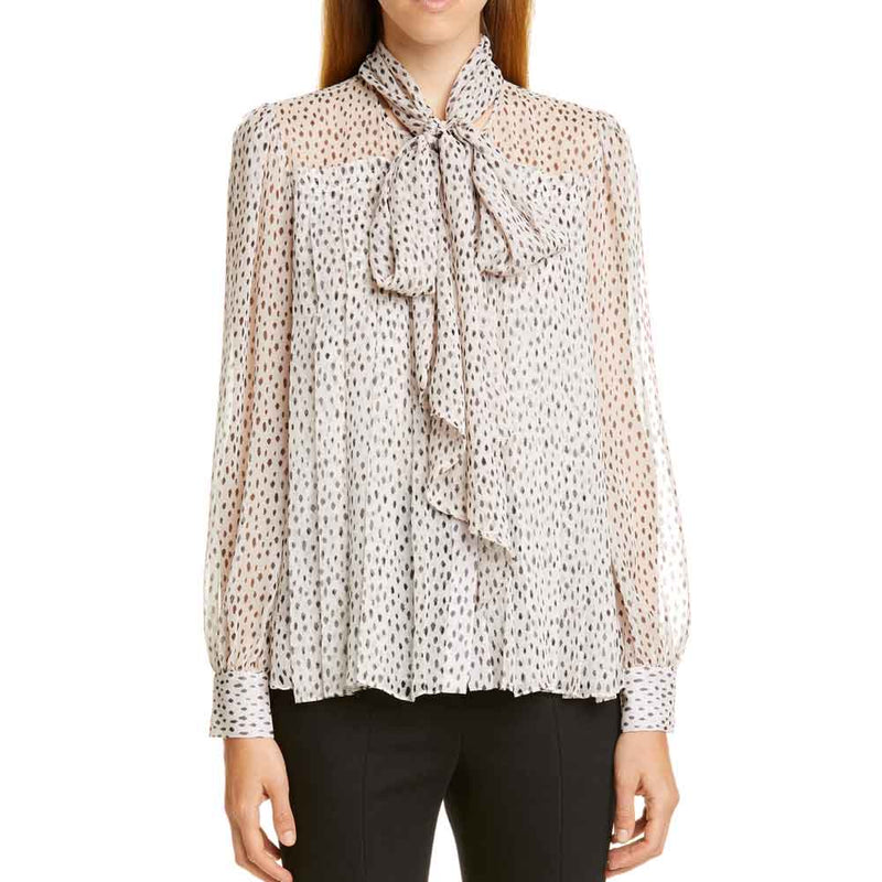 Adam Lippes Print Chiffon Blouse with Removable Tie
