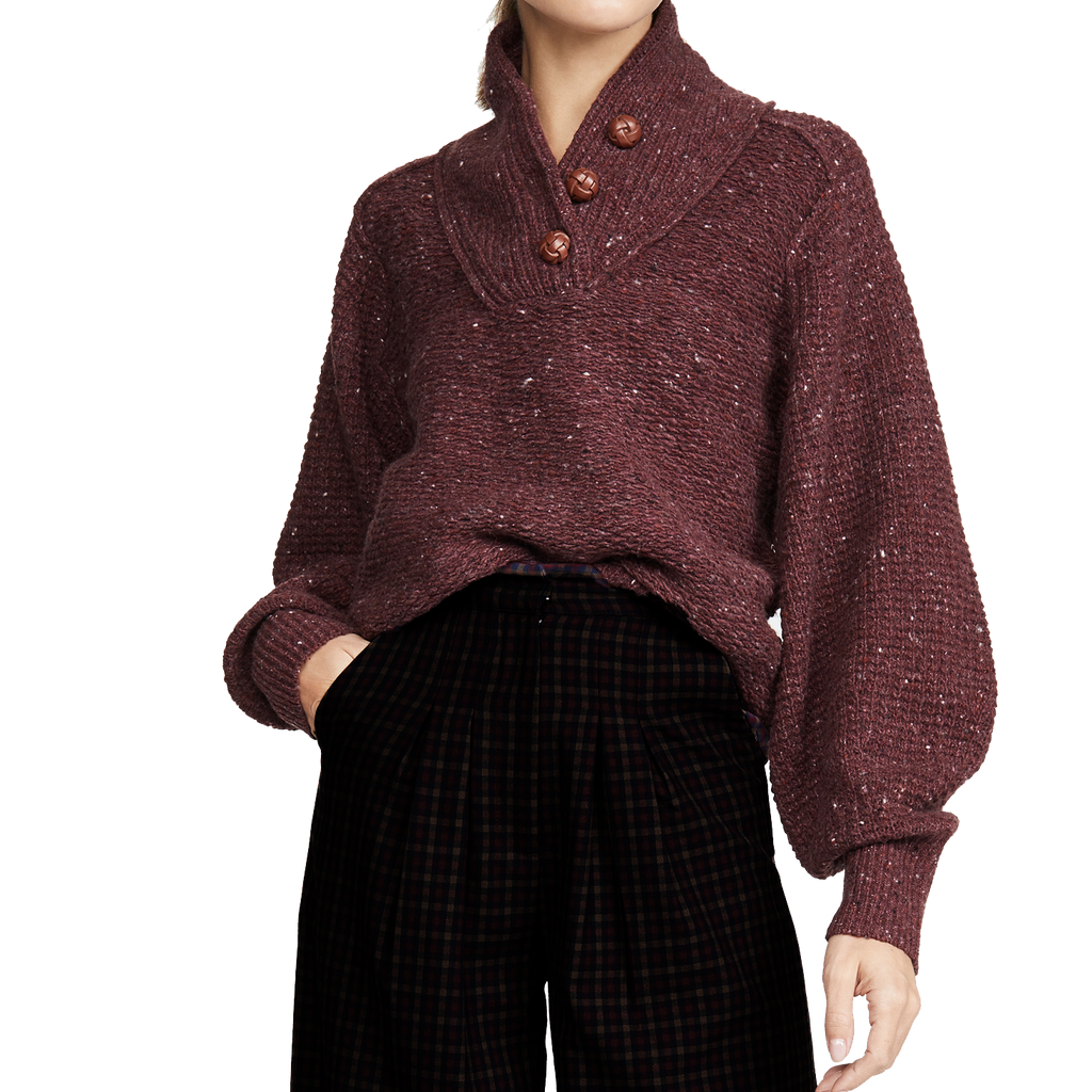 Rag & Bone Klark Burgundy Sweater