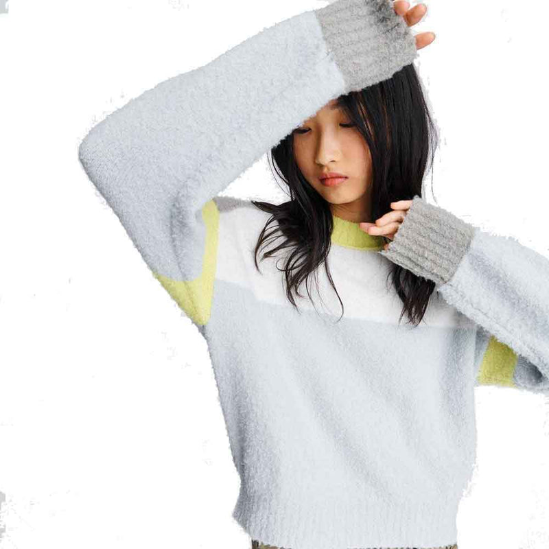 No. 21 Crewneck Lace Knit Mohair Sweater