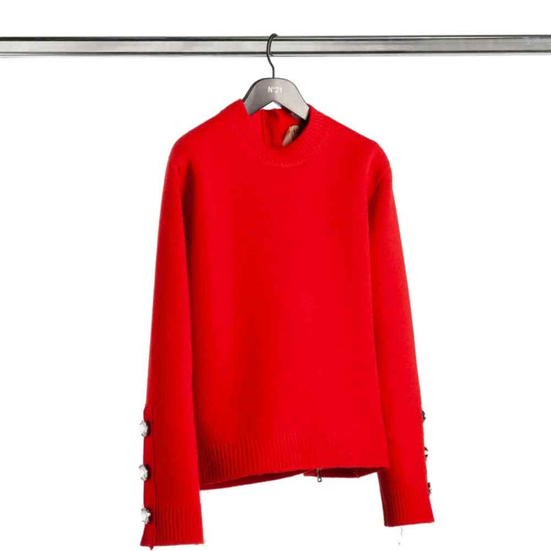No. 21 Red Zip Back Sweater