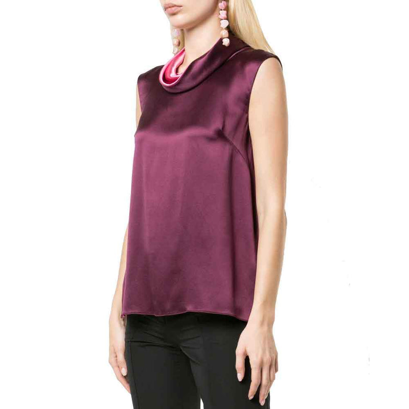 Adam Lippes Silk Charmeuse Sleeveless Cowl Neck Top tops Adam Lippes