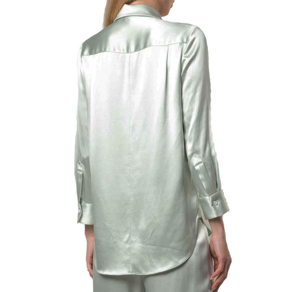 Adam Lippes Mint Silk Charmeuse Menswear Shirt tops Adam Lippes