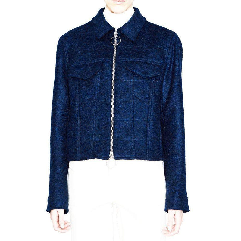 Acne Studios Thea Dark Blue Wool-Blend Tweed Jacket Jackets Acne Studios