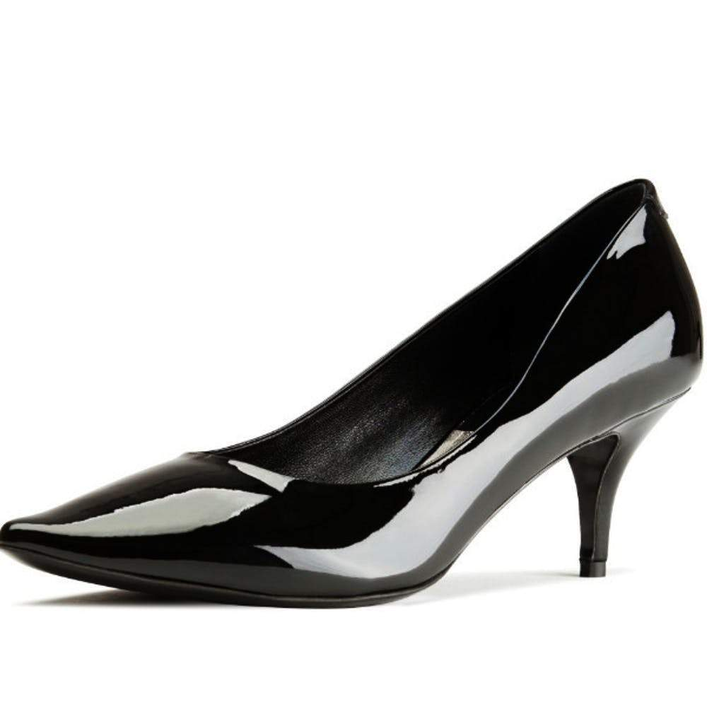 Acne Studios Millie Black Patent Leather Pointed Toe Kitten Heel Pump Shoes Acne Studios