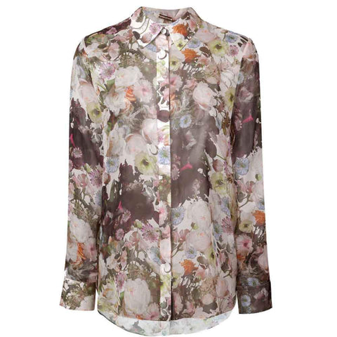 Adam Lippes tops 6 / BLACK Adam Lippes Printed Chiffon Menswear Shirt