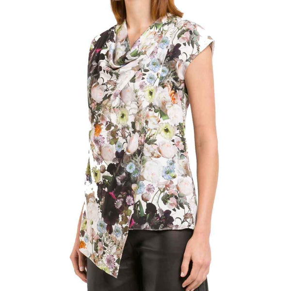 Adam Lippes Printed Silk Crepe Cowl Neck Top