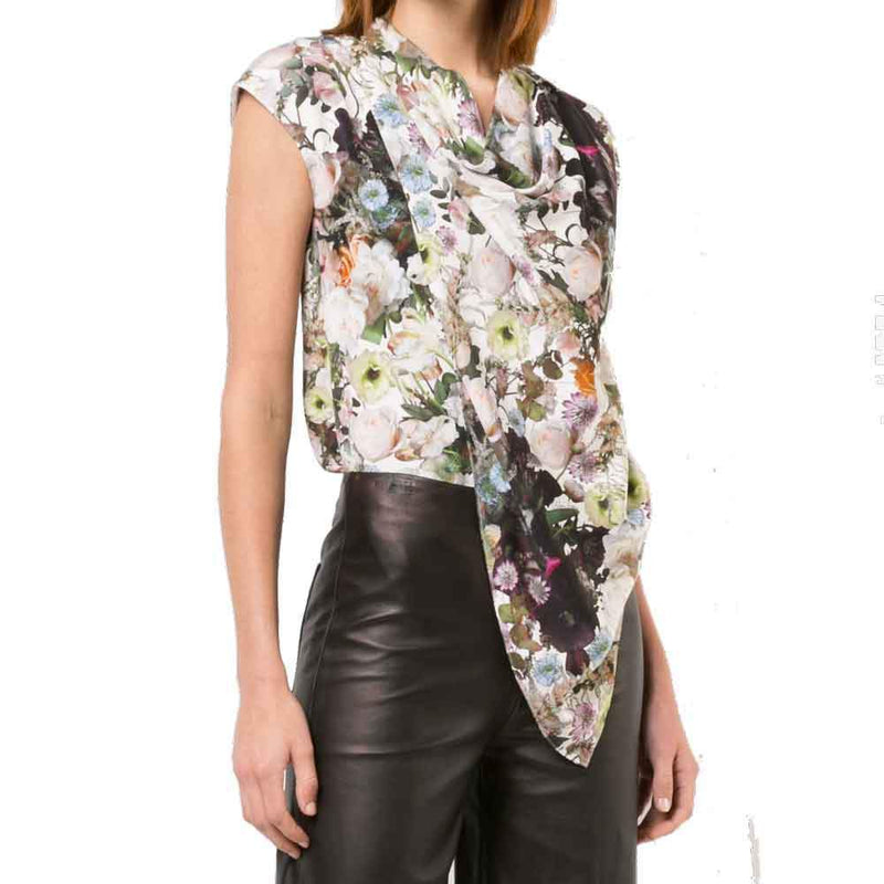 Adam Lippes Printed Silk Crepe Cowl Neck Top tops Adam Lippes