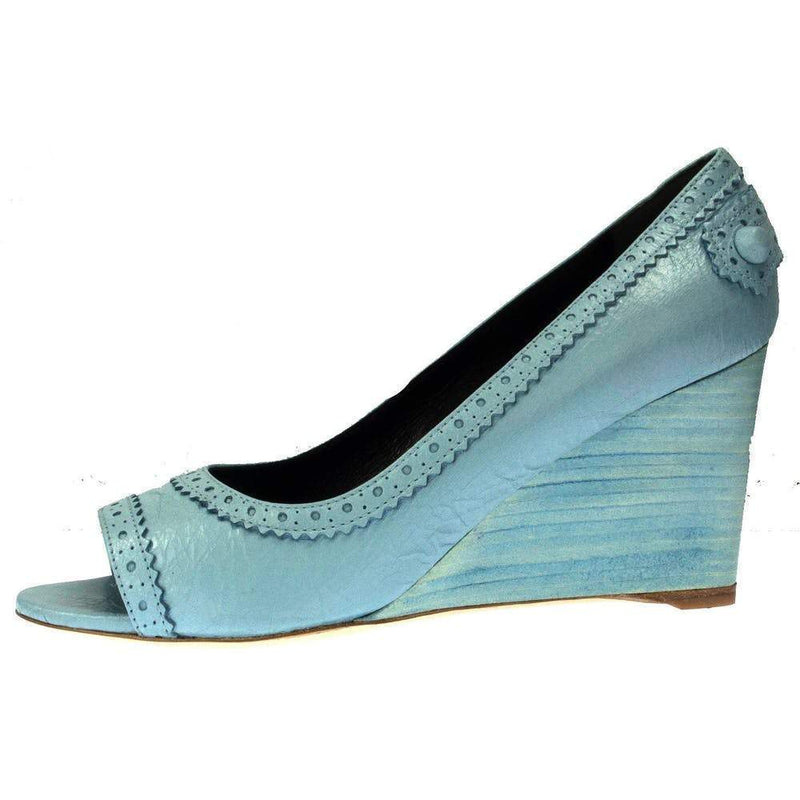 Balenciaga Arena Bleu Dragee Leather Wedge Open Toe Pump Shoes Balenciaga