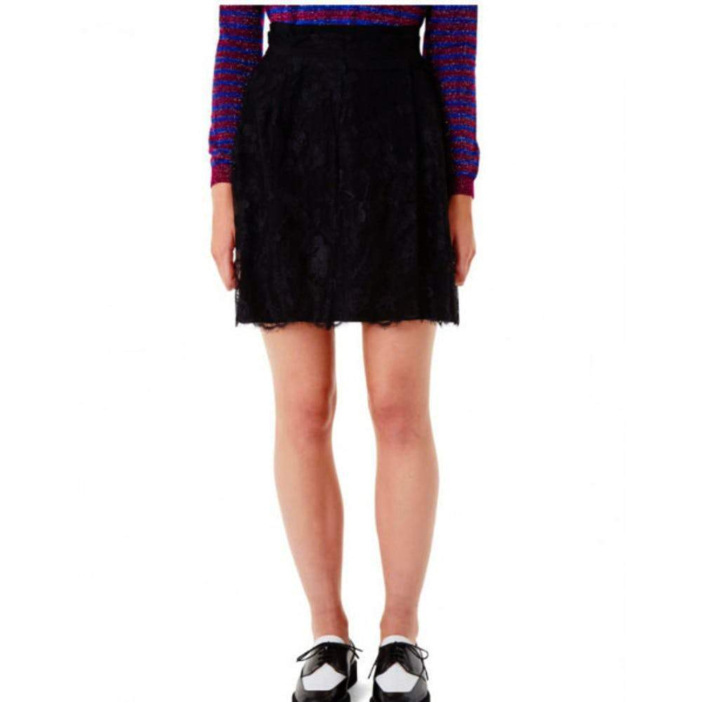 Carven Black Lace Embroidered Skirt Skirt Carven