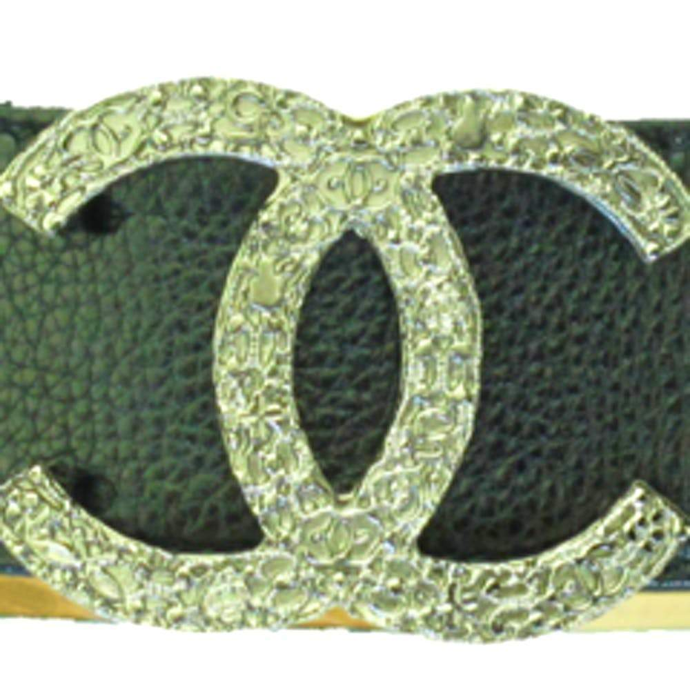 Chanel Black Leather Belt With Silver Logo Buckle Accessories Chanel