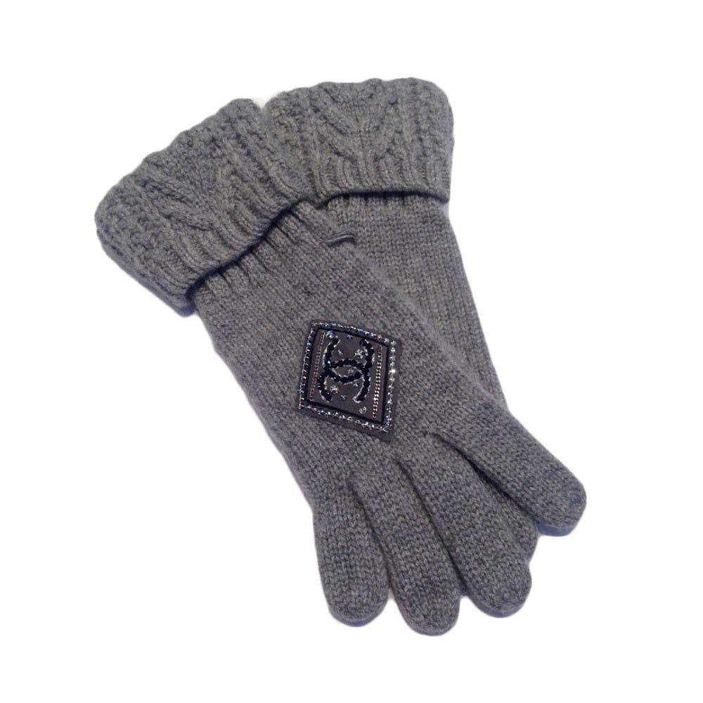 Chanel Grey Cashmere Embellished CC Logo Gloves Gloves Chanel