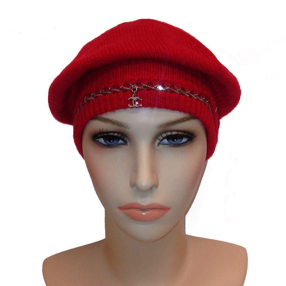 Chanel Cashmere Red Cap with Chain detail and CC Logo Hat Chanel