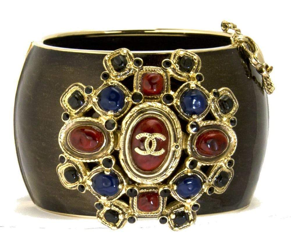 Chanel Multicolor Logo Black Contoured Cuff Bracelet Jewelry Chanel