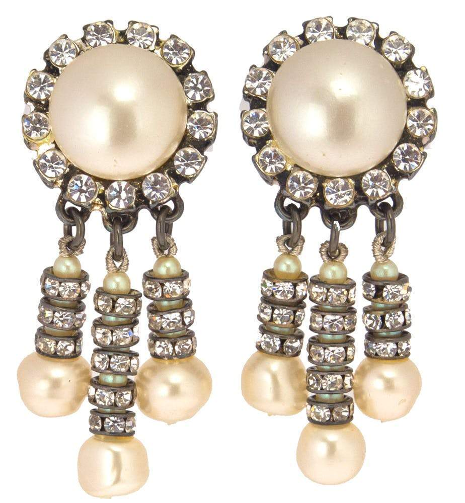 Chanel Pearl and Strass Drop Earrings Jewelry Chanel