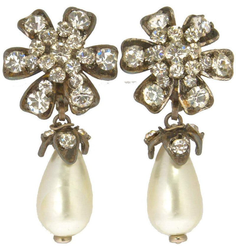 Chanel Strass and Pearl Drop Earrings Jewelry Chanel