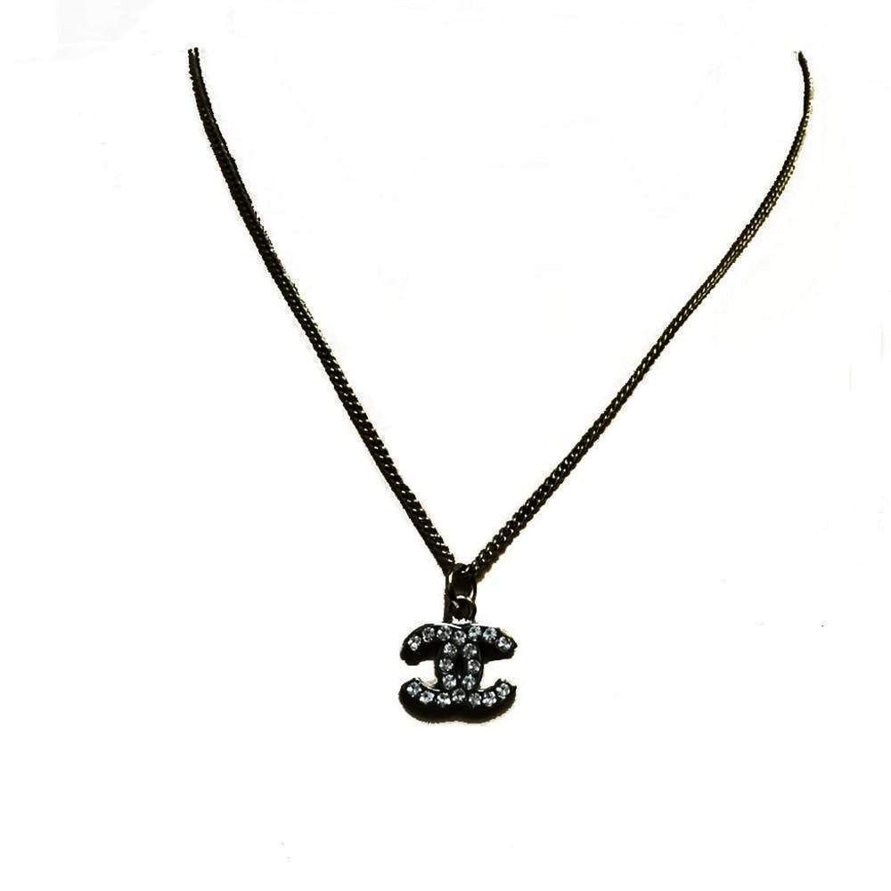 Chanel Silver with Strass Logo Necklace Jewelry Chanel